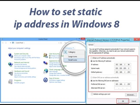 How to set static ip address in Windows 8