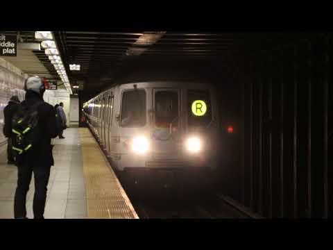 MTA NYC Subway Q & R trains at 8th St/NYU