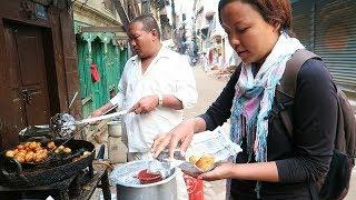 NEPALI STREET FOOD TOUR | Deep Fried NEPALI BREAKFAST+ KATHMANDU Sightseeing (Part 1)