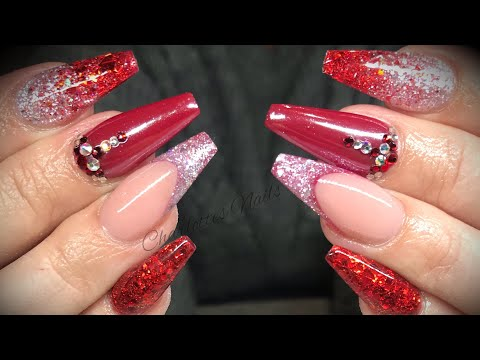 Acrylic nails - red design set with white chrome