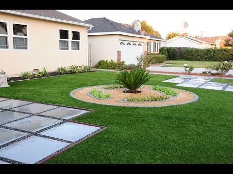 Front yard landscaping - concrete curb / edging, artificial turf & paving stones