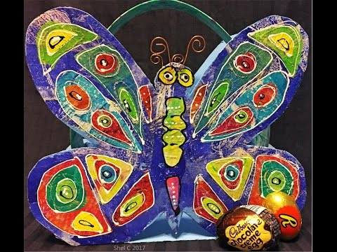 Gel Print Collage Butterfly Basket - Recycle a Cereal Box