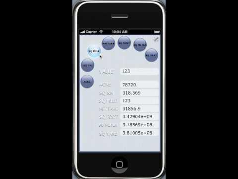 Area convertor- iPhone Application