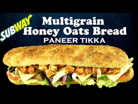 Make Multigrain Honey Oats Bread with Paneer Tikka like Subway from scratch | Yummylicious