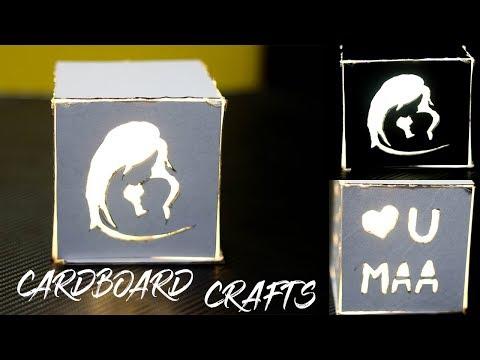 DIY CARDBOARD MOTHERS DAY LIGHT BOX   EASY LIGHT BOX  
