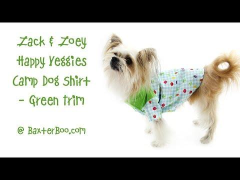 Zack and Zoey Happy Veggies Camp Dog Shirt - Green Trim