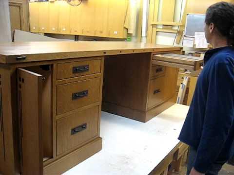 Quartersawn White Oak Desk with Ebony Inlay