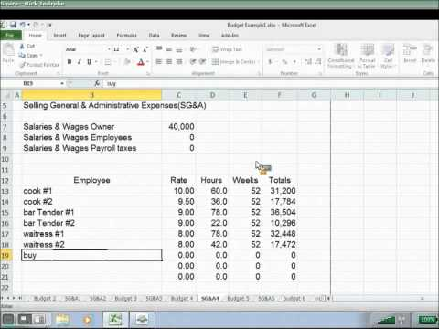 Starting a Budget General Expense Salaries and Wages Part 7/10