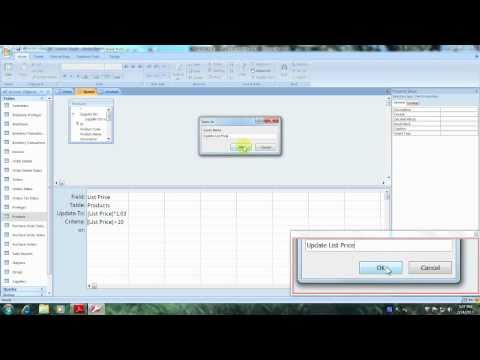 Access 2007 Tutorial How to Create a Query that Updates a Table