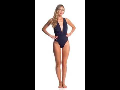 Vix Swimwear Solid Indigo Drape One Piece Swimsuit | SwimOutlet.com