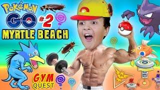 POKEMON GO to MYRTLE BEACH! Gym Battle Quest & Cockroach Attack! XP LEVEL UP w/ FGTEEV Pt 2 Gameplay