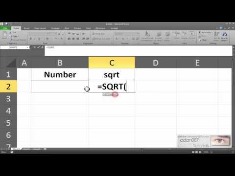 Excel obtaining the square root
