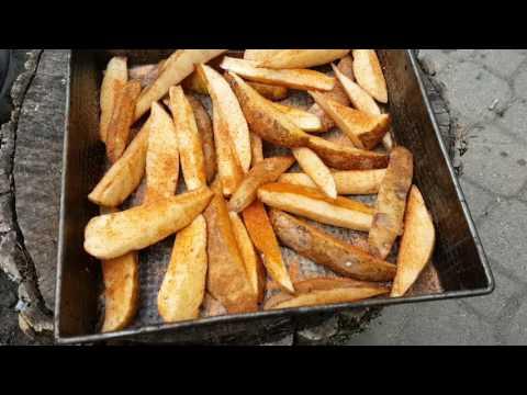 Deep Frying potato wedges outside 375F oil