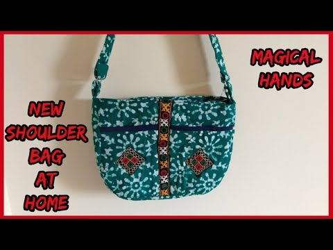 new shoulder bag making,cutting,sewing,stitching at home in hindi-|magical hands| 2018