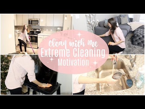 CLEAN WITH ME 2017 // EXTREME CLEANING MOTIVATION // deep cleaning the kitchen and living room