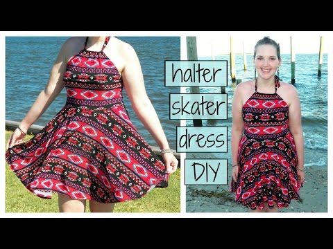 DIY Halter Top Skater Dress | Circle Skirt Party Dress Sewing Tutorial