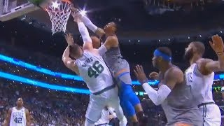 Russell Westbrook Almost Destroys Aron Baynes with Near Dunk!