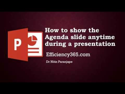 Powerpoint Magic Trick: How to Create and Show Agenda Slide From Any Slide During a Presentation