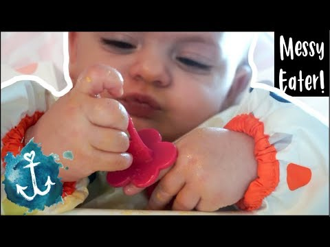 EATING FUN FOODS | Teaching a 10 mo old to feed herself | WatersWife