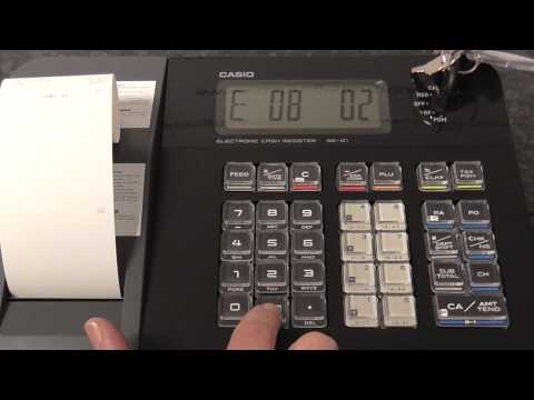 Casio SE-G1 how to program the receipt message on the printer paper to show business shop  name