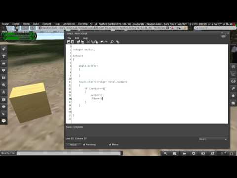 Second Life Scripting: Beginner 01 - Creating a Simple Switch