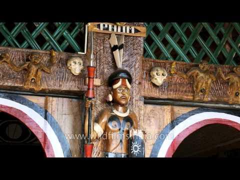 Human skulls,wooden hornbills crafted at Phom Morung