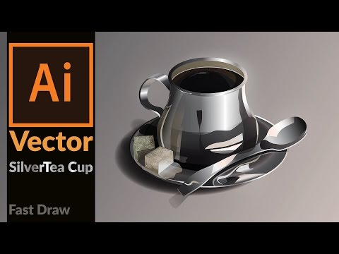 Drawing Vector Realistic Silver coffee cup in Adobe Illustrator