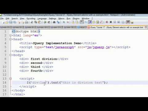 JQuery Tutorial 17 - HTML element selector explanation with an example