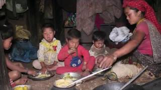 Cooking food of maize flour , curry of potatoes and green vegetables recipe
