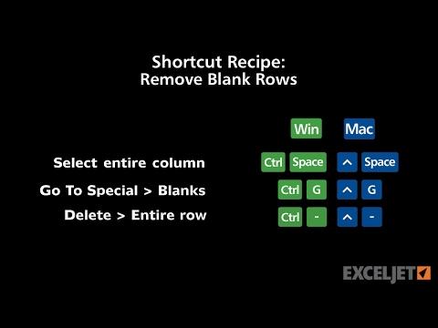 Shortcut Recipe Remove Blank Rows