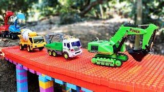 Build Bridge Blocks Toys | Excavator , Truck , Cement Mixer Truck |Construction vehicles
