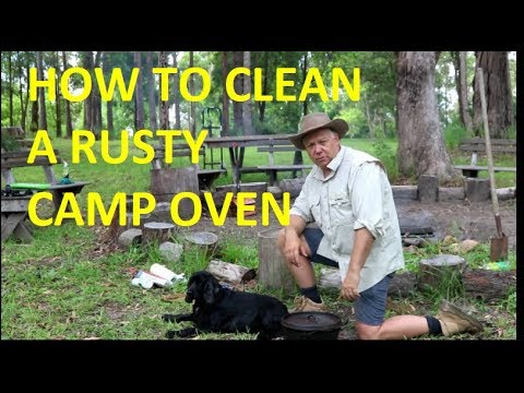 How to clean your Rusty Cast Iron camp oven |TheHookandTheCook|