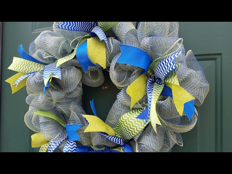 DIY Blue & Green Deco Mesh Wreath