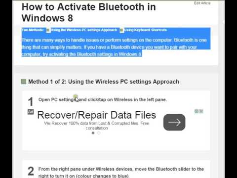 Activate Bluetooth in Windows 8