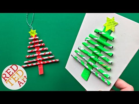 DIY Paper Straw Christmas Tree Ornament & Card DIY - Easy Newspaper DIY Ideas - Recycled Christmas