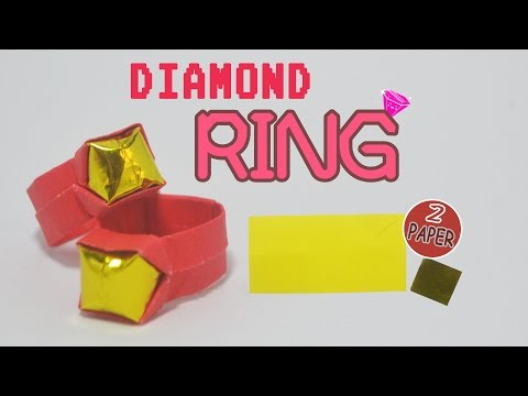Valentine's day - How to make a paper diamond ring - Origami ring easy