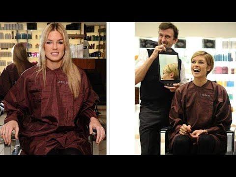 haircut long blonde hair cut to a cute short pixie cut