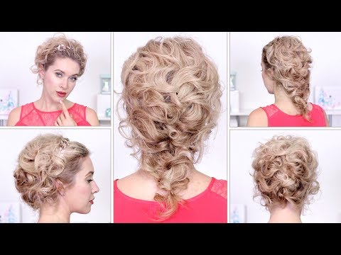 Hairstyles for Christmas holidays, New Year❤ Curly braided updo tutorial for medium long hair