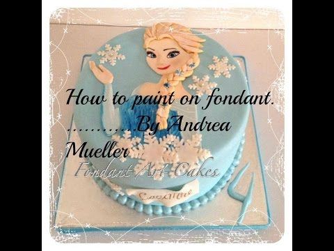 How to paint an edible picture on fondant (Elsa from FROZEN)