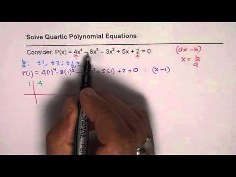 Steps to Solve Quartic Polynomial Equation