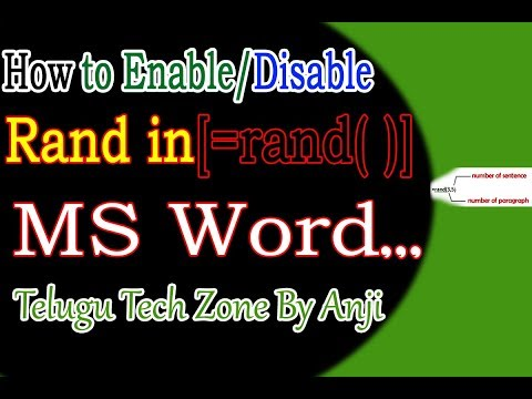 How to Enable / Disable Rand in ms word Telugu   How to use Rand equation  in telugu