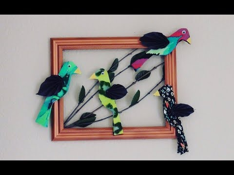 DIY 3D Wall Art Decor,  Birds Out of Upcycled Clothes