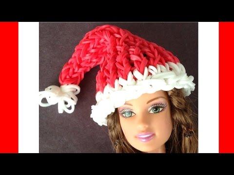 Rainbow Loom Christmas Barbie Doll Santa Hat - loom bands