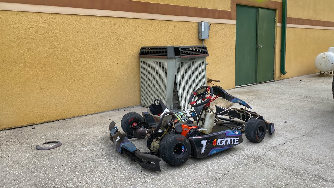 Racing and wrecking my go kart at Adam LZ's new compound.