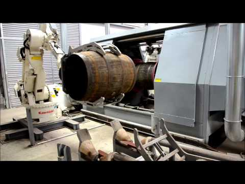 Robots handling barrels at Speyside Cooperage
