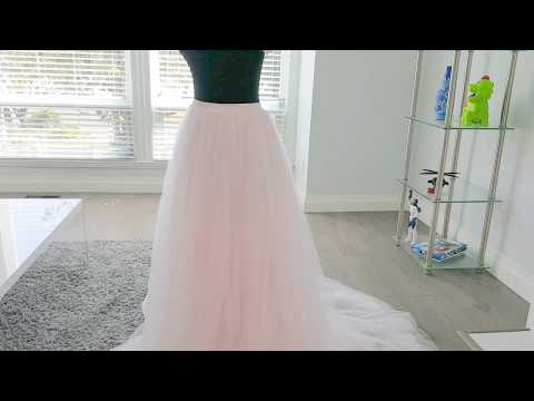 Light Pink Blush Layered Tulle Skirt With Train Wedding Separates