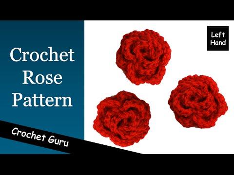 How to Crochet a Rose - Rose Flower Pattern - (Left Hand) Tutorial
