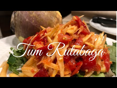 Lao Style Salad Food: [Lao Version 60%] How I Make Tum Rutabaga like Papaya Salad