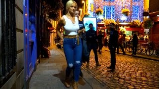 Dublin on a Saturday night. Temple Bar: nightlife, night out, pubs, bars, drinking, laugh, streets.