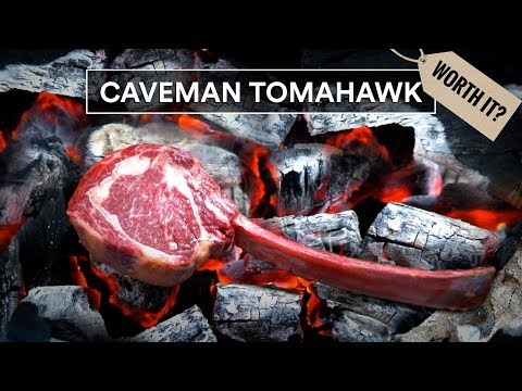 Caveman TOMAHAWK STEAK worth it? Grilled Directly on Charcoal!